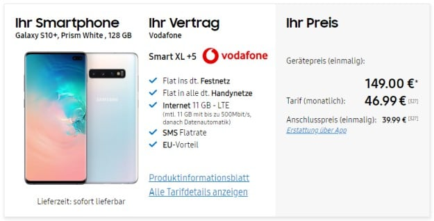 Samsung Galaxy S10 Plus + Vodafone Smart XL bei Samsung