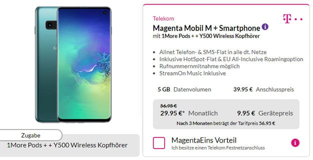Samsung Galaxy S10 + AKG Y500 + 1More Stylish True Wireless + Telekom Magenta Mobil M bei Preisboerse24