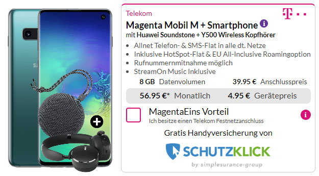 Samsung Galaxy S10 + AKG Y500 Bluetooth-Headset + Huawei SoundStone CM51 + Telekom Magenta Mobil M bei Preisboerse24