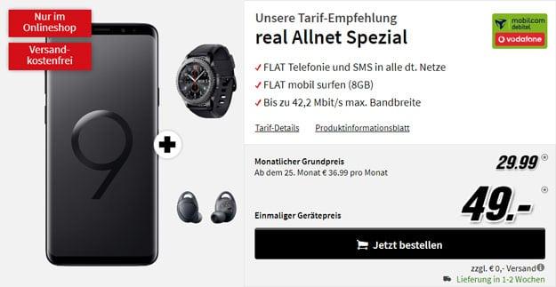 Samsung Galaxy S9 Plus + Samsung Gear S3 frontier + Samsung Gear IconX (2018) + Vodafone real Allnet (mobilcom-debitel) bei MediaMarkt