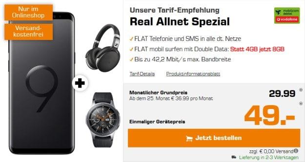 Samsung Galaxy S9 + Samsung Galaxy Watch + Sennheiser HD 4.50 BTNC + Vodafone real Allnet (mobilcom-debitel) bei Saturn