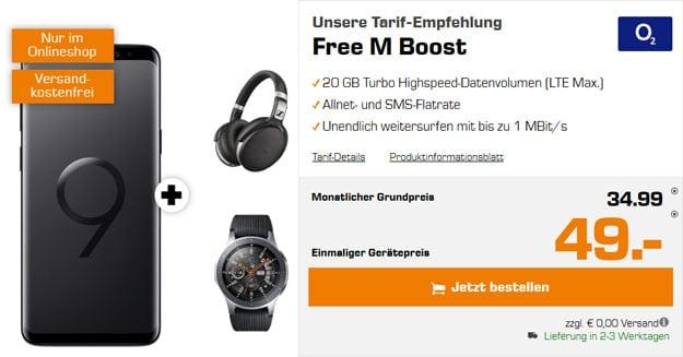 Samsung Galaxy S9 + Sennheiser HD 4.50 BTNC + Samsung Galaxy Watch + o2 Free M Boost bei Saturn