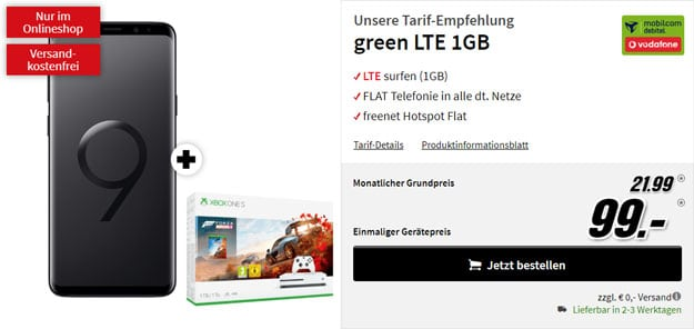 Samsung Galaxy S9 Plus + Xbox One X (1TB) Forza 4 Bundle + green LTE 1 GB (Vodafone-Netz) bei MediaMarkt