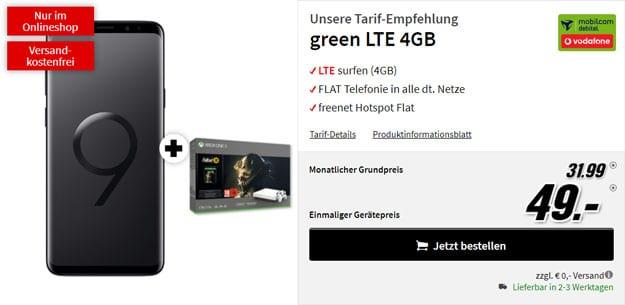 Samsung Galaxy S9 Plus + Xbox One X (1TB) Fallout '76 Bundle + mobilcom-debitel green LTE (Vodafone-Netz) bei MediaMarkt