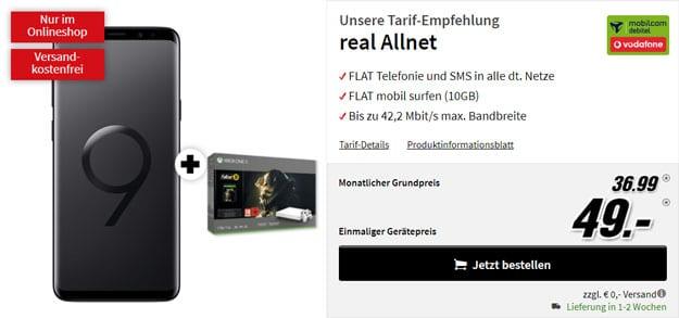 Samsung Galaxy S9 Plus + Xbox One X (1TB) Fallout '76 Bundle + Vodafone real Allnet (mobilcom-debitel) bei MediaMarkt