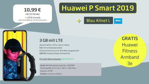 huawei p smart 2019 + fitnesstracker + blau allnet l