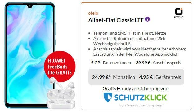 Huawei P30 lite + Huawei FreeBuds lite + otelo Allnet-Flat Classic LTE bei Preisboerse24