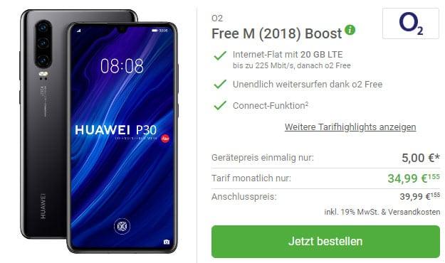 Huawei P30 + o2 Free M Boost bei DeinHandy