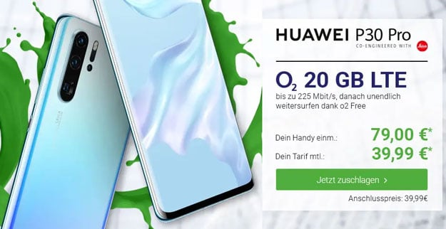 Huawei P30 Pro + o2 Free M Boost bei DeinHandy
