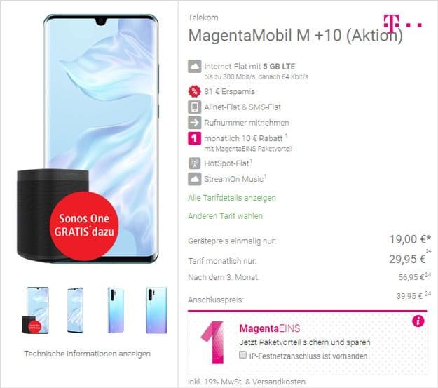 Huawei P30 Pro + Sonos One (2. Generation) + Telekom Magenta Mobil M bei DeinHandy