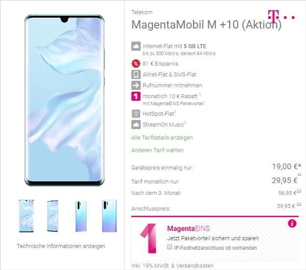 Huawei P30 Pro + Telekom Magenta Mobil M bei DeinHandy