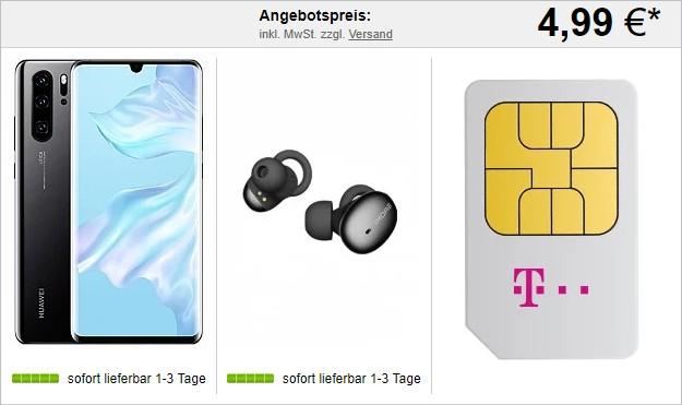 Huawei P30 Pro + 1More Stylish True Wireless Headset + Telekom Magenta Mobil M bei LogiTel