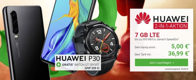 Huawei P30 + Huawei Watch GT Sport + Vodafone Smart L Plus bei DeinHandy
