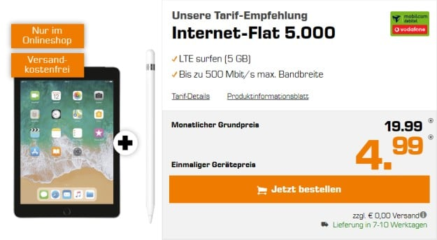 Apple iPad 2018 WiFi + LTE 32GB + Apple Pencil + Vodafone Internet-Flat 5.000 (mobilcom-debitel) bei Saturn