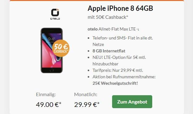 iphone 8 + otelo allnet flat max lte