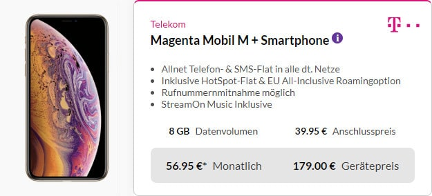 iphone xs + magenta mobil m