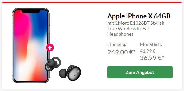 iPhone X + 1More Stylish True Wireless Headset + Vodafone Smart L Plus bei Preisboerse24