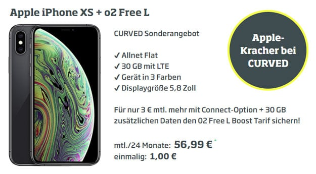 Apple iPhone Xs + o2 Free L bei CURVED