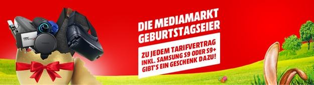MediaMarkt Geburtstagseier Aktion: Deals aus Samsung Galaxy S9 / S9 Plus mit Handyvertrag bestellen & gratis Überraschung abstauben