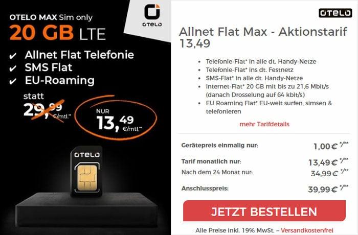 otelo Allnet-Flat Max (SIM-only) bei CepNet
