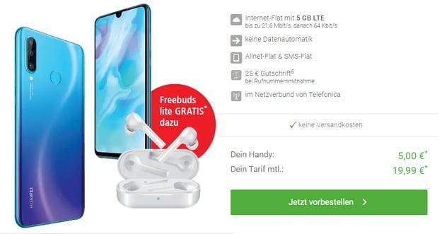 Neu! Huawei P30 Lite + Blau Allnet XL eff. kostenlos (Allnet- & SMS-Flat, 5 GB LTE, o2-Netz) mit Huawei FreeBuds lite