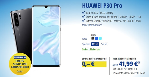 Huawei P30 Pro + 1&1 All-Net Flat LTE