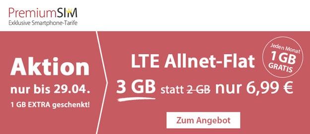 Wahnsinn! PremiumSIM Allnet-Flat mit 3 GB LTE für 6,99 € mtl. (Allnet- & SMS-Flat, Telefónica-Netz) – mtl. kündbar – bis 8 GB LTE