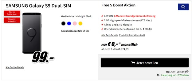 Samsung Galaxy S9 + o2 Free S Boost bei MediaMarkt