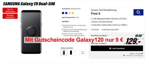 Galaxy S9 + o2 Free S - mit Gutscheincode!
