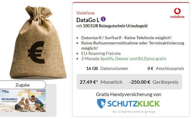 Vodafone DataGo L (SIM-only) + 250 € Cashback + 100 € Reisegutschein bei Preisboerse24