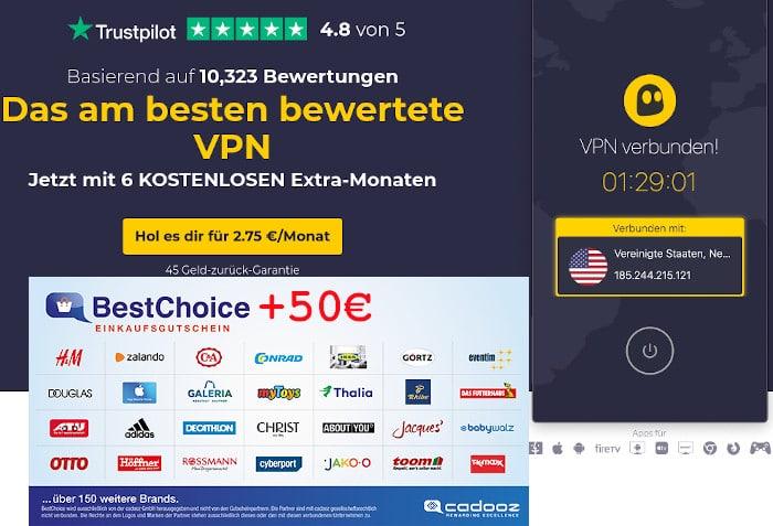 Cyberghost VPN Deal BestChoice-Gutschein