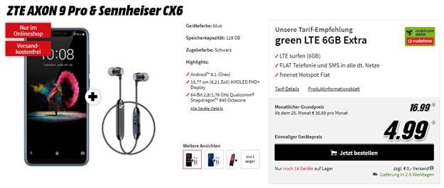 ZTE AXON 9 Pro & Sennheiser CX6 mit greent LTE 6 GB LTE