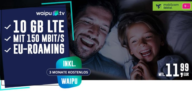 mobilcom-debitel internet-flat 10.000 mit 10 gb lte datenflat telekom-netz + 3 monate gratis waipu tv