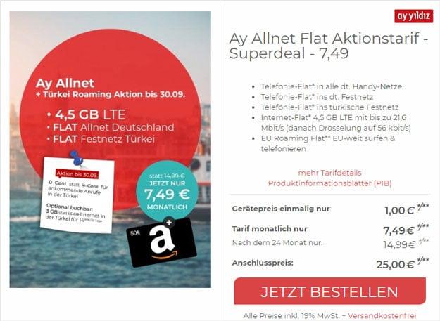 Ay Yildiz Ay Allnet + 50 € Amazon-Gutschein bei CepNet