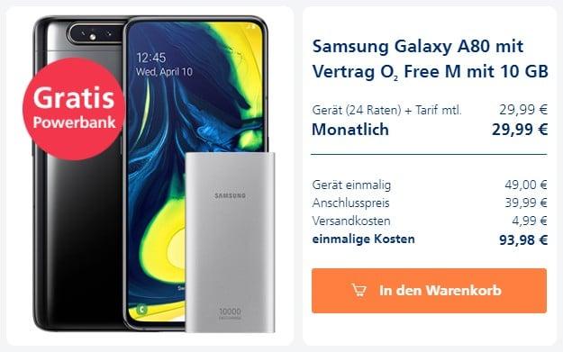 Samsung Galaxy A80 + Samsung EB-P1100B Powerbank + o2 Free M bei o2 Online