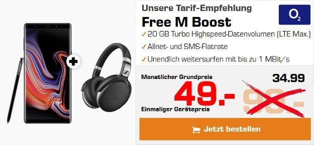 Samsung Galaxy Note 9 + Sennheiser HD 4.50 BTNC + o2 Free M Boost bei Saturn