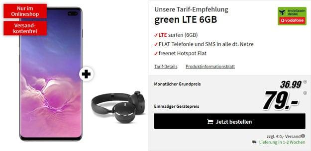 Samsung Galaxy S10 Plus + AKG Y500 Bluetooth-Headset + mobilcom-debitel green LTE (Vodafone-Netz) bei MediaMarkt