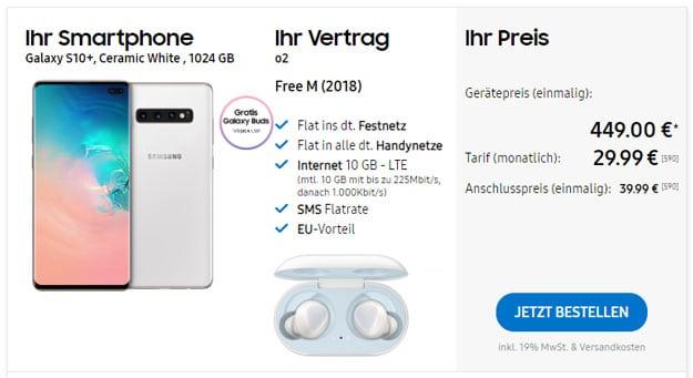 Samsung Galaxy S10 Plus (1TB) + Samsung Galaxy Buds + o2 Free M im Samsung Online-Shop