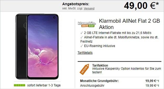 Samsung Galaxy S10e + klarmobil Allnet-Flat 2000 LTE (Vodafone-Netz) bei LogiTel