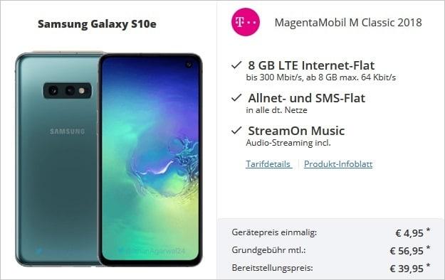 Samsung Galaxy S10e + Telekom Magenta Mobil M bei Sparhandy