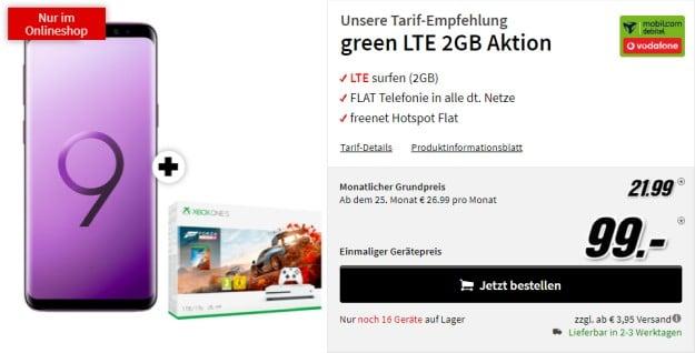 Samsung Galaxy S9 + Xbox One S (1TB) Forza4-Bundle + mobilcom-debitel green LTE (Vodafone-Netz) bei MediaMarkt