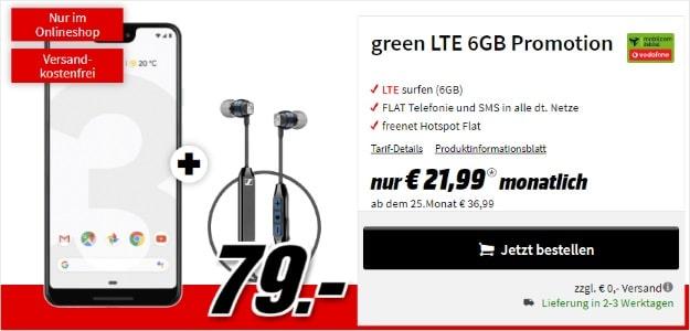 Google Pixel 3 XL + Sennheiser CX 6.00 BT oder Google Home Mini + mobilcom-debitel green LTE (Vodafone-Netz) bei MediaMarkt