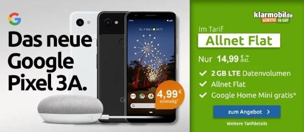 Google Pixel 3a + Google Home Mini + klarmobil Allnet-Flat 2 GB LTE (Vodafone-Netz) bei LogiTel