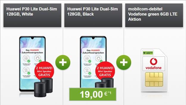 2x Huawei P30 lite + 4x Huawei Mini Speaker CM510 + mobilcom-debitel green LTE (Vodafone-Netz) bei modeo