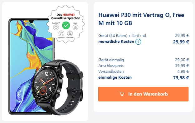 Huawei P30 + Huawei Watch GT Sport + o2 Free M bei o2 Online