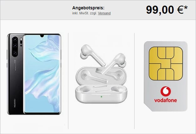 huawei p30 pro + freebuds lite + vodafone smart l plus