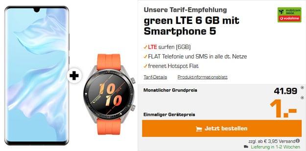 Huawei P30 Pro + Huawei Watch GT Active + mobilcom-debitel green LTE (Vodafone.-Netz) bei Saturn