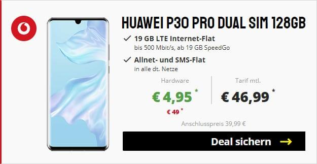 huawei p30 pro + vodafone smart xl 19 gb lte