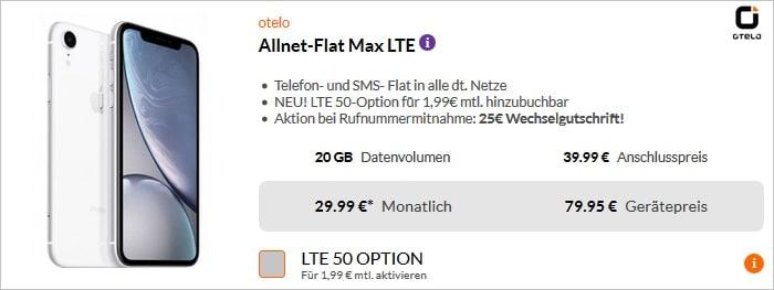 iPhone Xr (Weiß) mit otelo Allnet Flat Max bei Preisboerse24