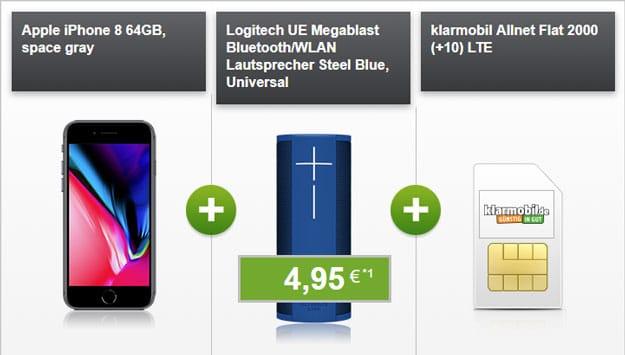 iPhone 8 + Ultimate Ears Megablast + klarmobil Allnet-Flat 2000 LTE (Vodafone-Netz) bei modeo